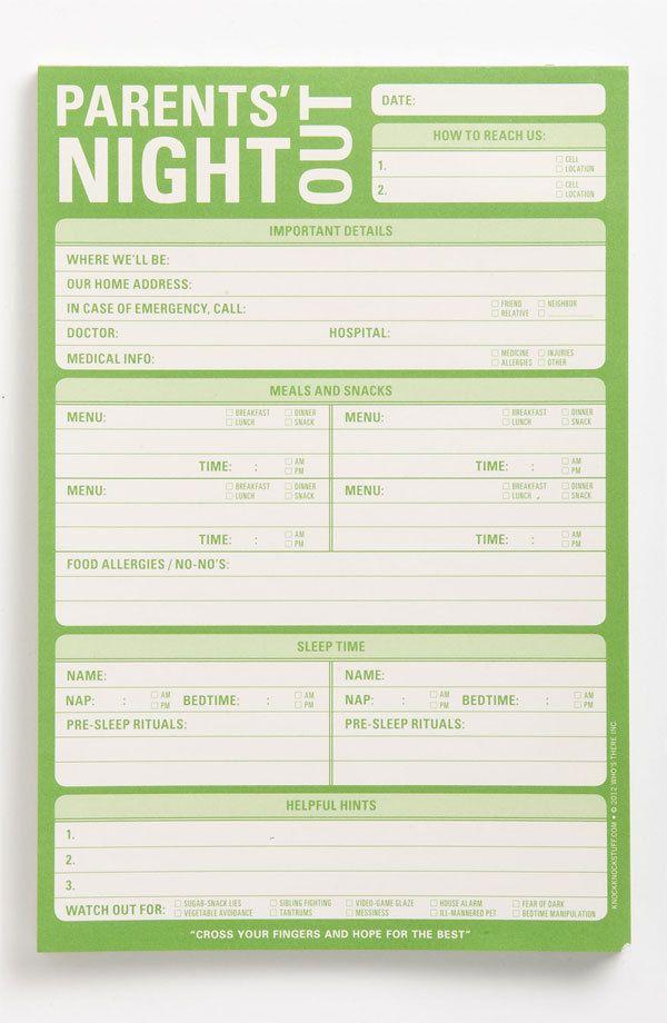 Free Fancy Babysitter Checklist Samplingforeignluxurycute printable