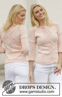 "Peach Macaroon - Knitted DROPS jacket with lace pattern and raglan in ""Muskat"". Worked top down. Size: S - XXXL. - Free pattern by DROPS Design"