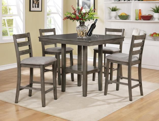 Cm2630set Gy 5 Pc Grey Brown Finish Wood Counter Height Dining Table Set Counter Height Dining Room Tables Counter Height Dining Sets Solid Wood Dining Set