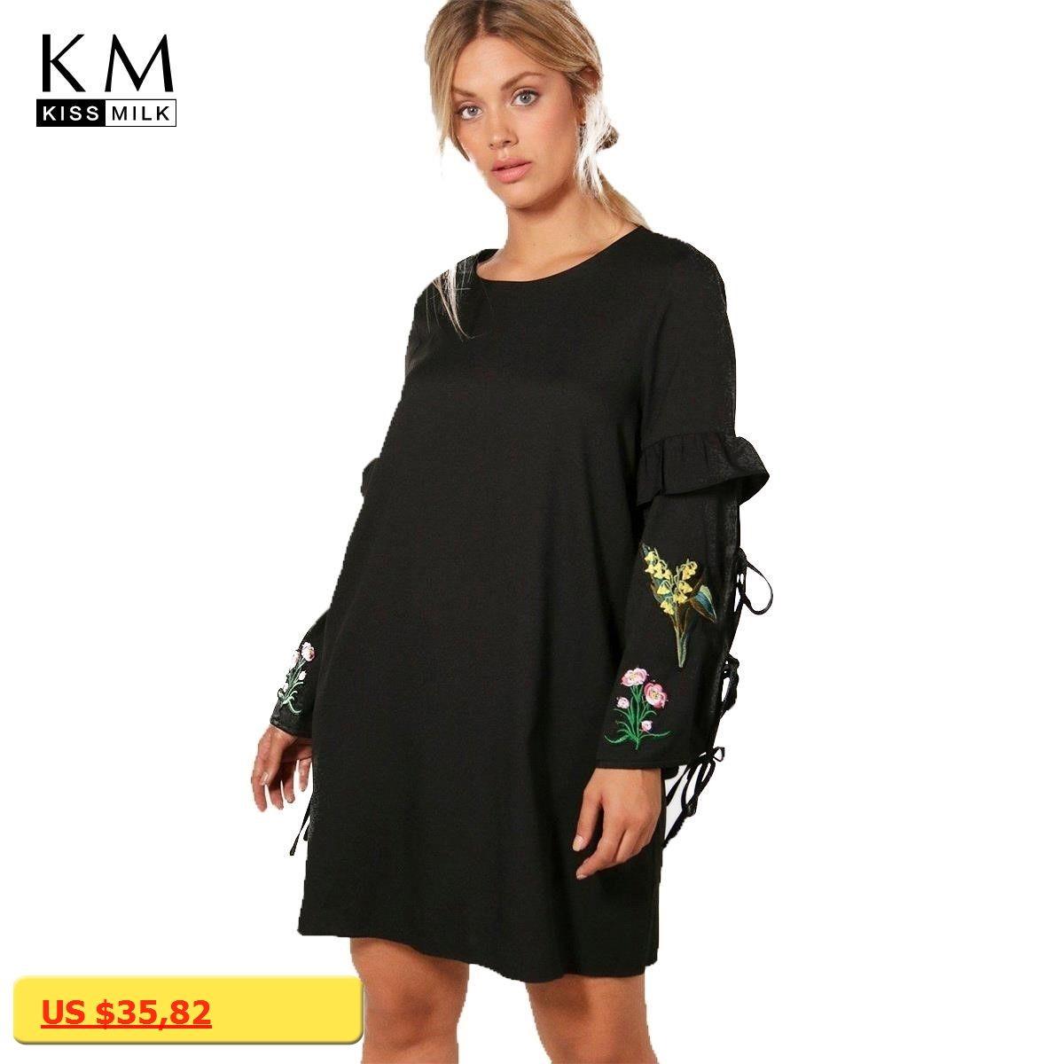 Kissmilk plus size women fashion embroidery lace up straight female