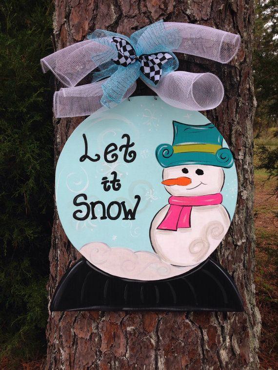 christmas door hangersnow globe door hanger personalized door hangerwinter door hangerchristmas door decorwelcome sign