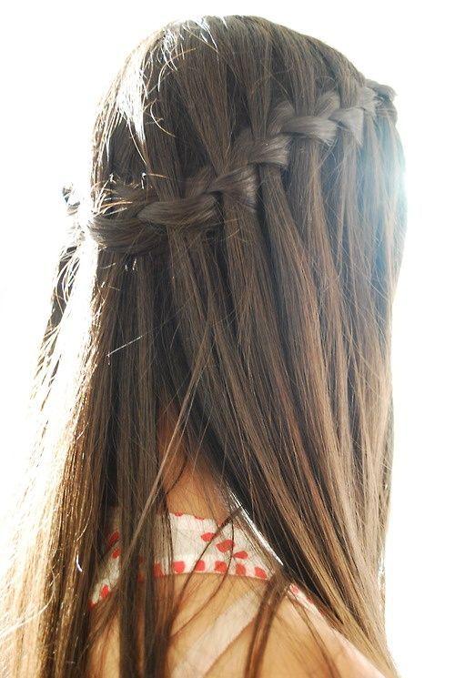 Long Brunette Hair Braids For Long Hair Waterfall Braid Hairstyle