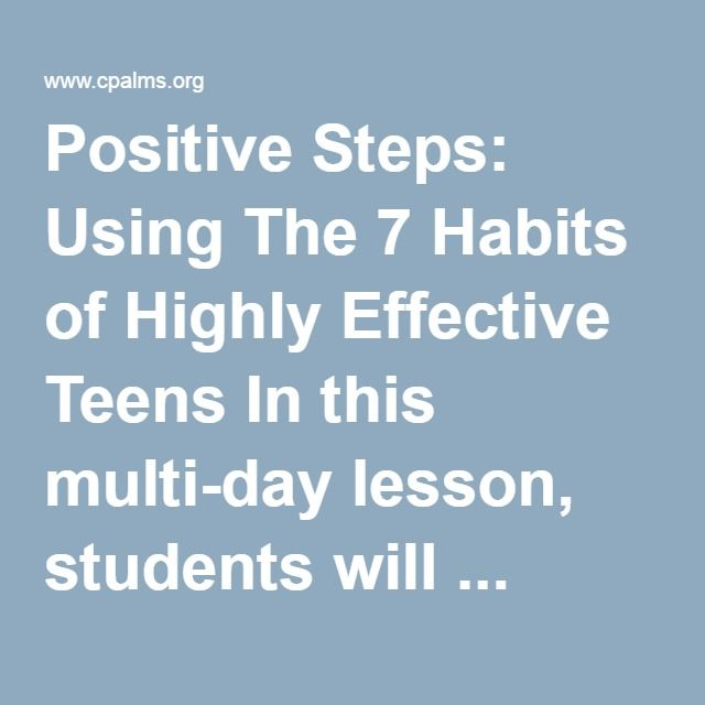 Positive Steps Using The 7 Habits of Highly Effective Teens In – 7 Habits of Highly Effective Teens Worksheets