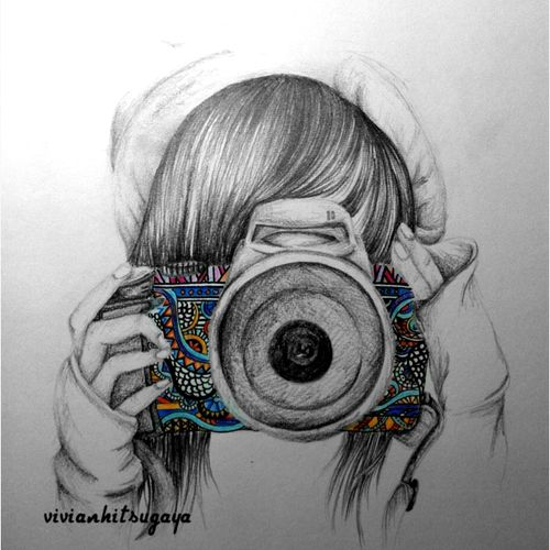 camera, girl, and drawing resmi