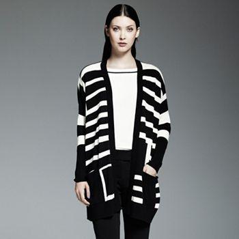 Catherine Malandrino for DesigNation Striped Oversized Cardigan -- $66