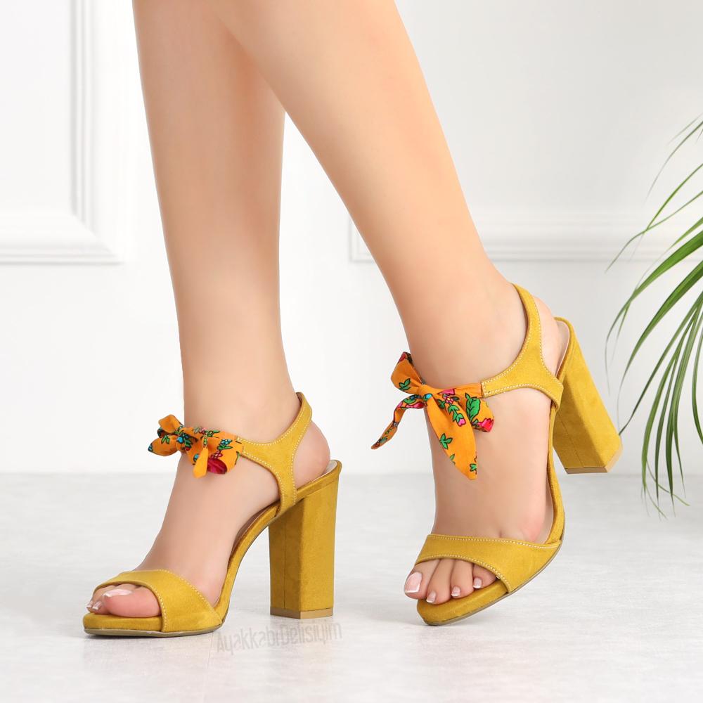 Nirov Dz Suet Hardal Onden Baglamali Topuklu Ayakkabi Yellow Sandals Heels Topuklular Topuklu Ayakkabilar Ayakkabilar