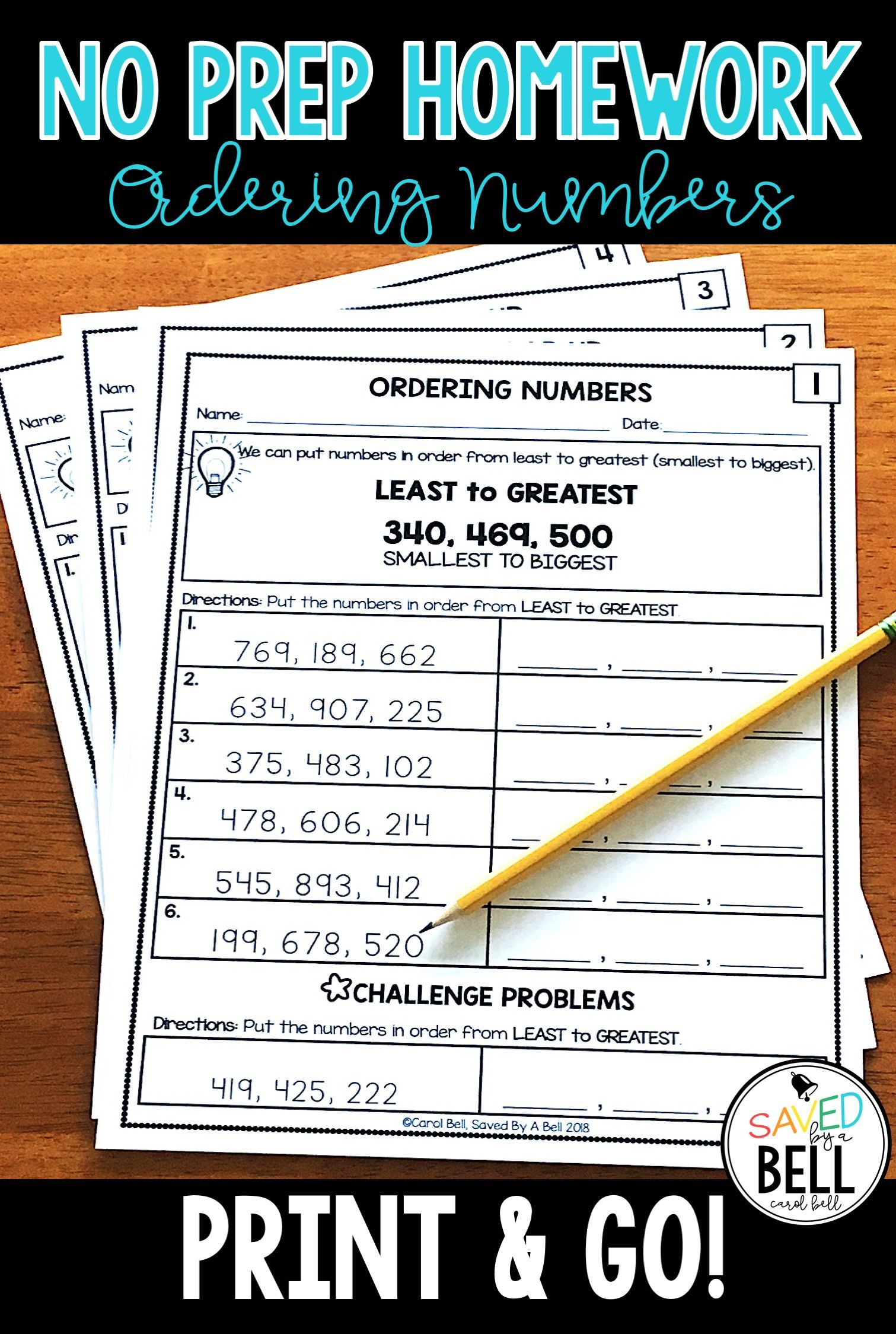 Ordering Numbers Worksheets Distance Learning
