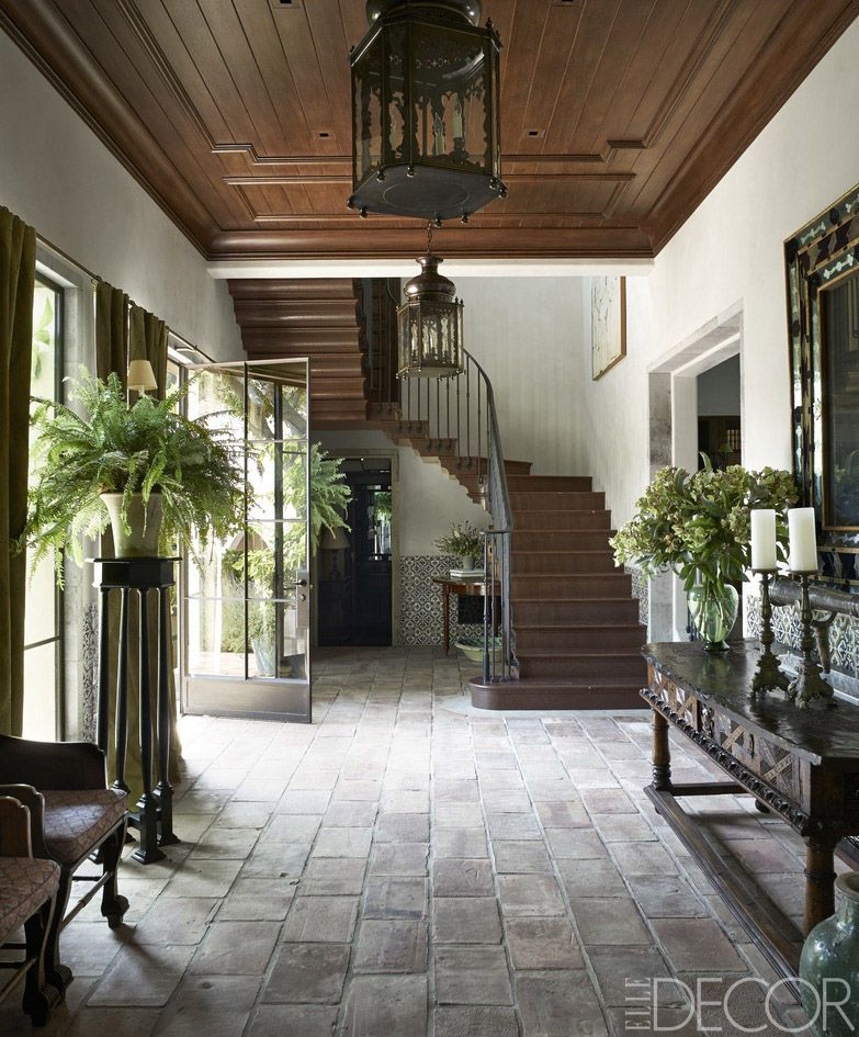Lanterns by soane hang from an oak paneled ceiling in the gallery floor is paved with terra cotta tiles exquisite surfaces elledecor also reclaimed modern glass wall partition open room clearview ider rh pinterest