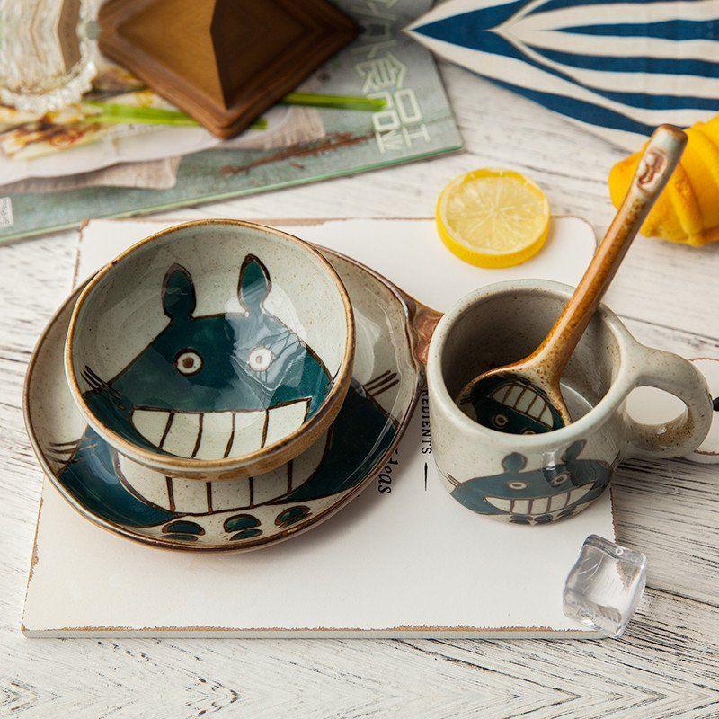 Kawaii totoro anime bowl dish cup spoon set sp179063