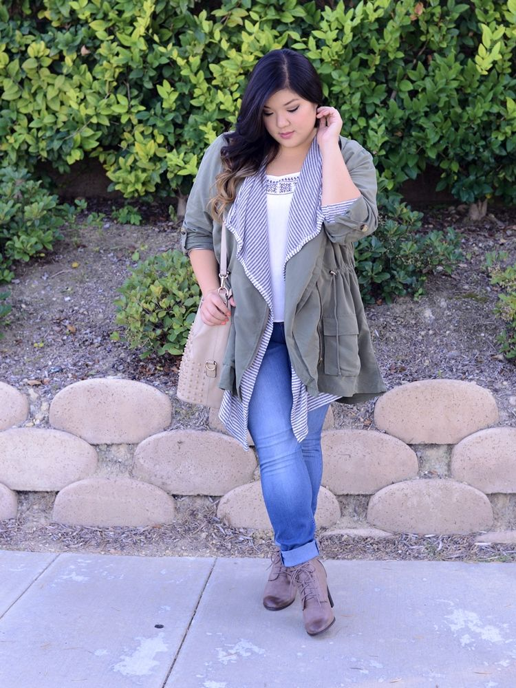 e72fe46850d2 Curvy Girl Chic Plus Size Fashion Blog Charlotte Russe Anorak Skinny Jeans  Lace Up Boots