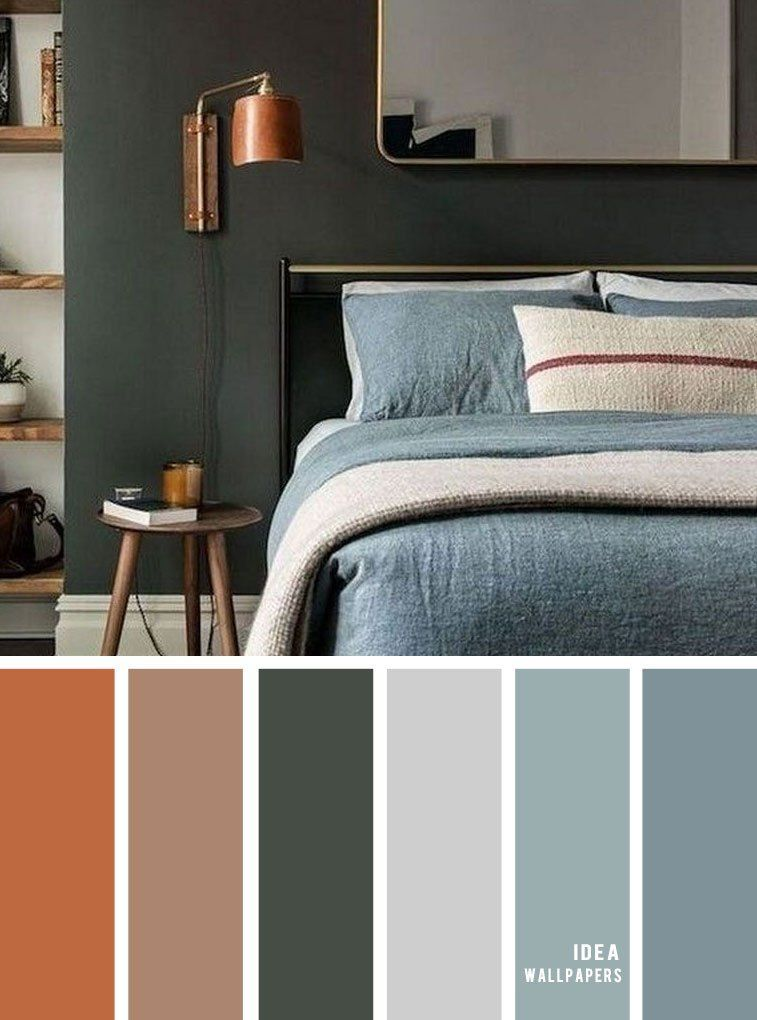 11 Gorgeous Bedroom In Grey Hues Copper Cool Green Grey In 2020 With Images Bedroom Colour Schemes Green Grey Bedroom Colors Bedroom Color Schemes