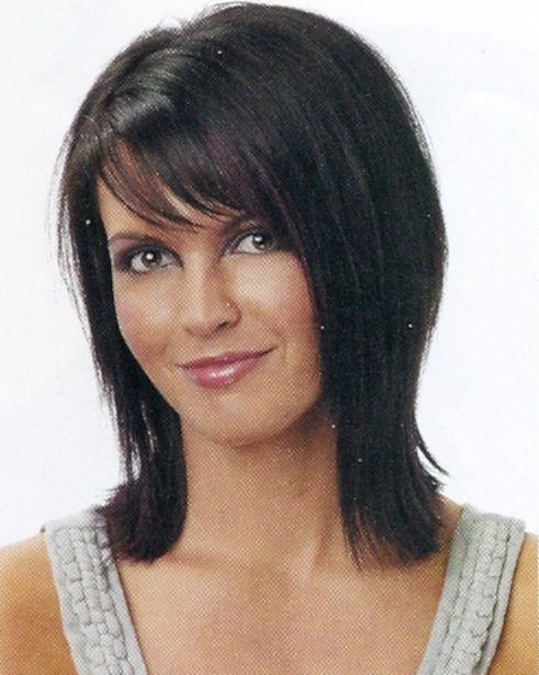 medium length brunette shag haircut