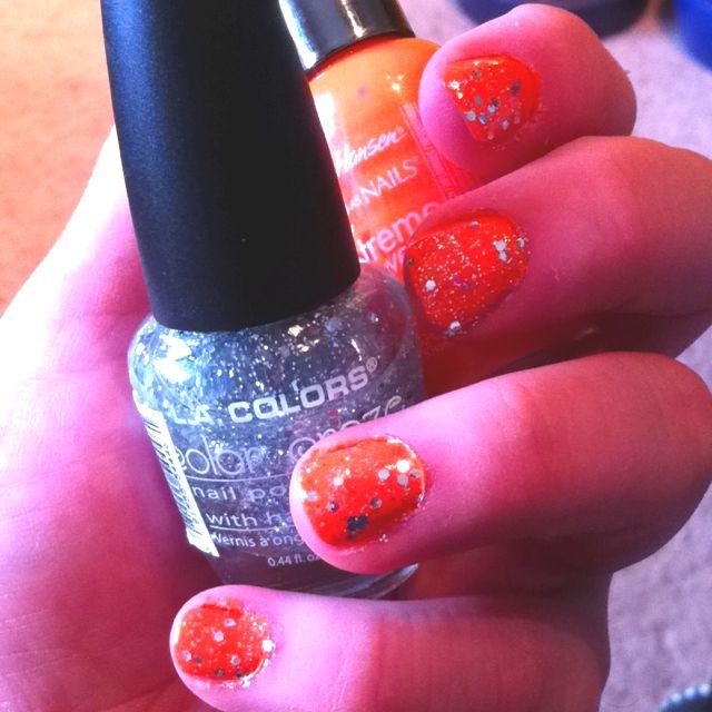 Sally Hanson sun kissed and la colors sparkling diamonds :)