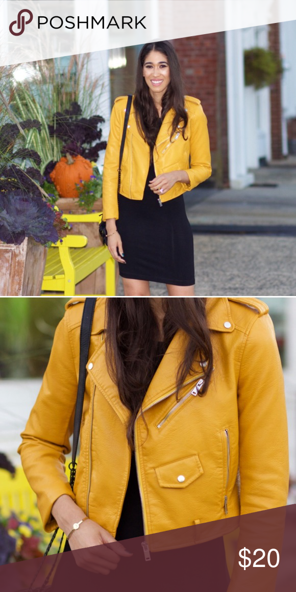 Yellow Zara Faux Leather Jacket Occasionally warn