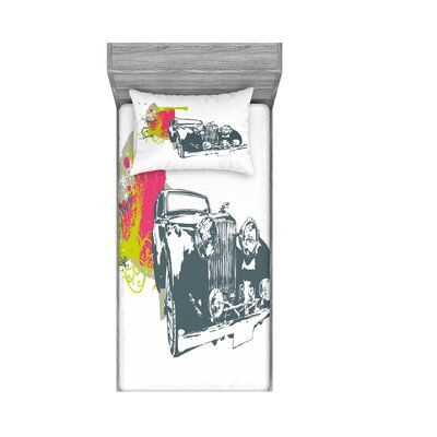 East Urban Home Classic Car with Grunge Effects Sheet set Size: Twin