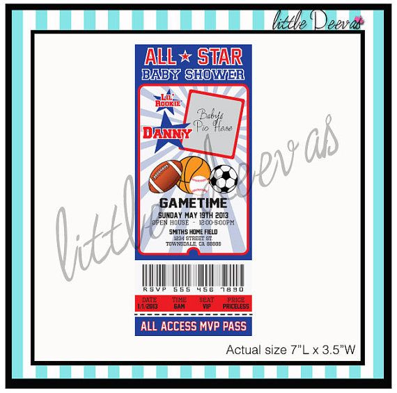 Sports ticket baby shower invitation custom by littledeevas 1050 sports ticket baby shower invitation custom by littledeevas 1050 april coletta alexia terrar filmwisefo Image collections