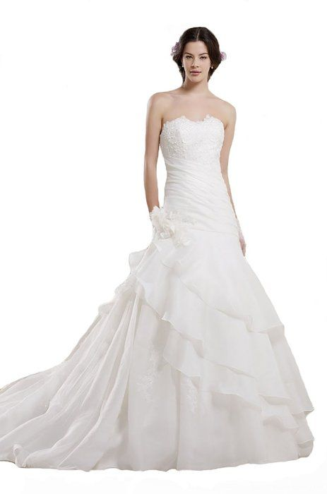 Ever Beauty Sweetheart A-line Lace Appliques Beaded Wedding Dress White Size 30