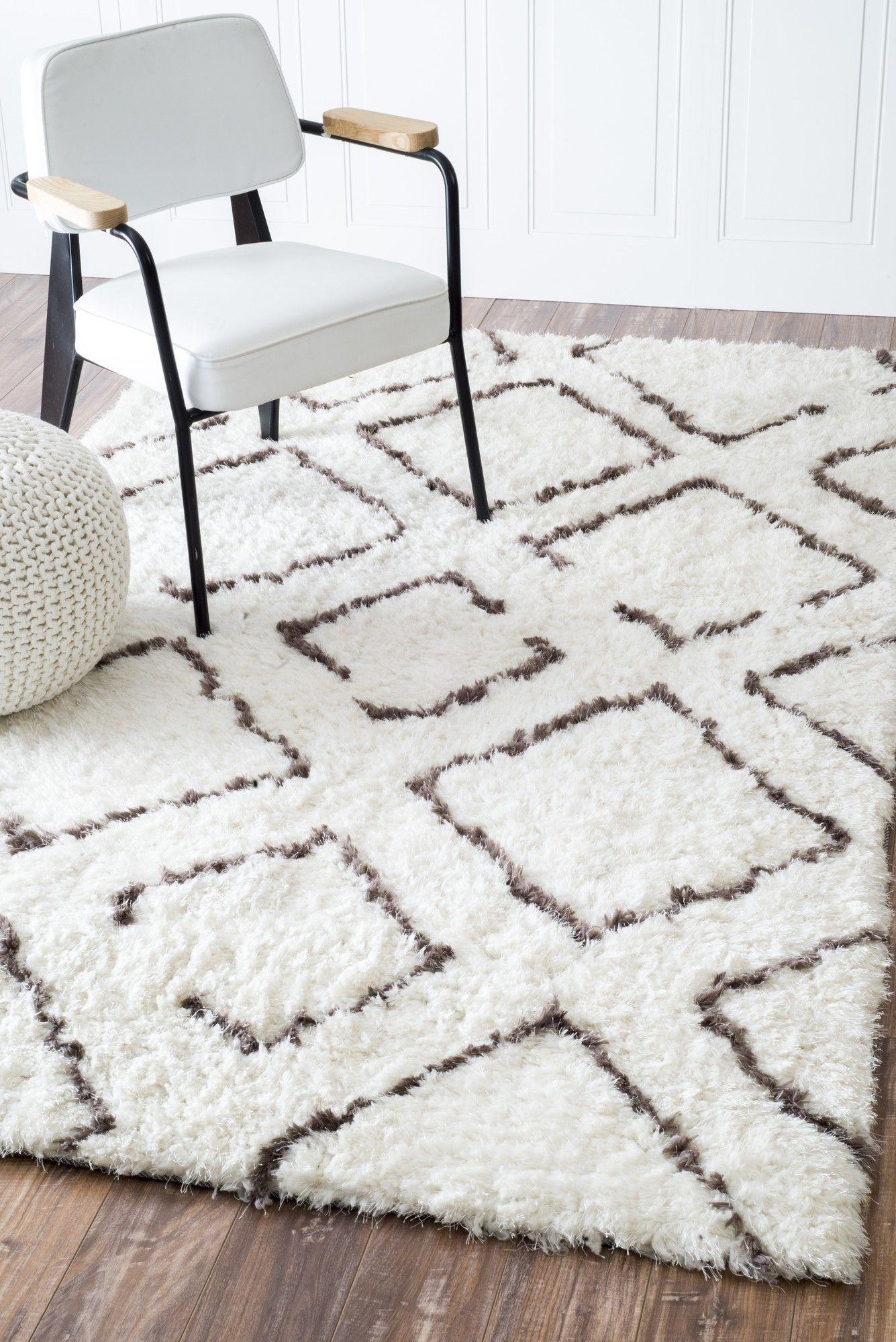 Bridgette Ivory & Brown Shag Area Rug Brown shag rug