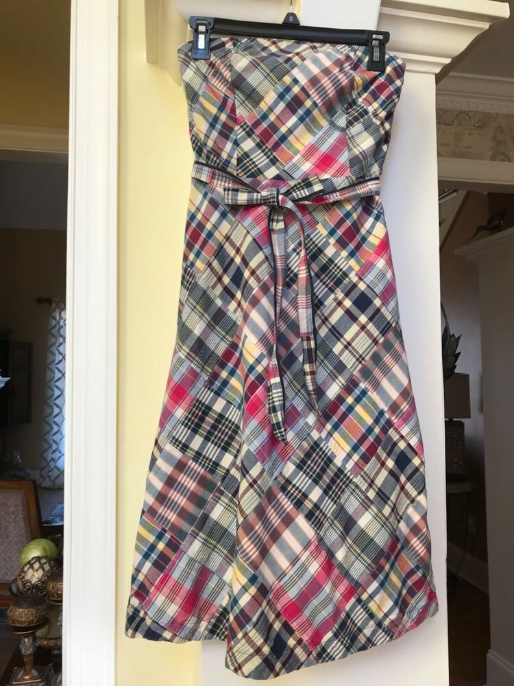 American Eagle Outfitters patchwork plaid lined strapless dress w  tie belt  sz 2  fashion  clothing  shoes  accessories  womensclothing  dresses (ebay  link) 3f3ac787b