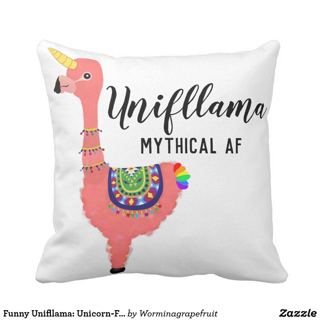 Funny Unifllama Unicorn Flamingo Llama Hybrid Throw Pillow Throw Pillows Animal Throw Pillows Unicorn Funny
