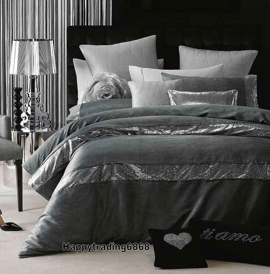 Linen House Glamour Pascal Pewter Grey Sequin Super King Queen Quilt Cover Set Linenhouse 128 270 X 240