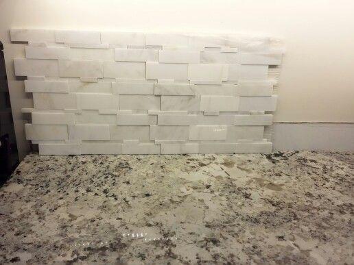 Italian statuario 3d cubic marble random mosaic with Italian marble backsplash
