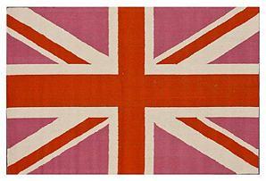 Union Jack Rug, Pink/Persimmon Union jack rug, Union