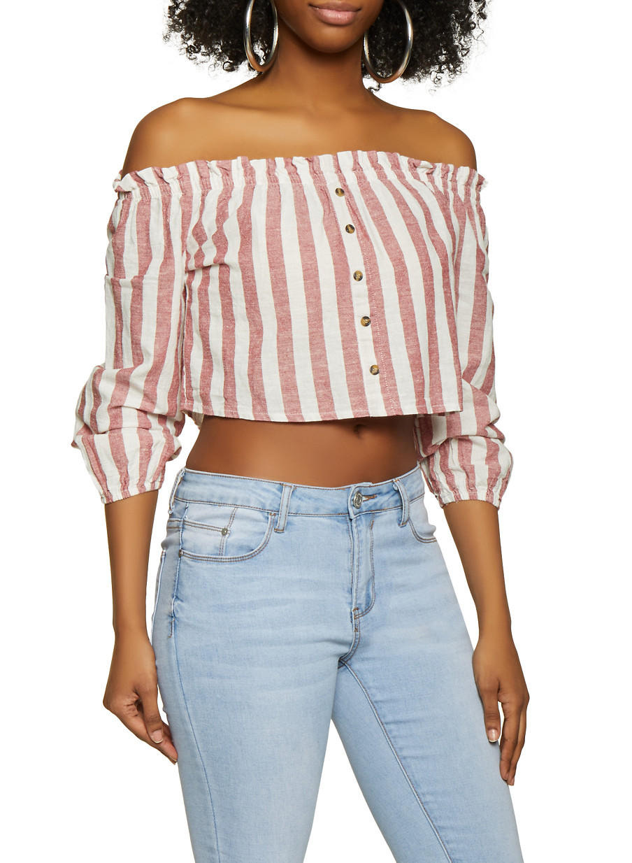 7c8650d3ae83 Striped Faux Button Off the Shoulder Top - Multi - Size M in 2019 ...