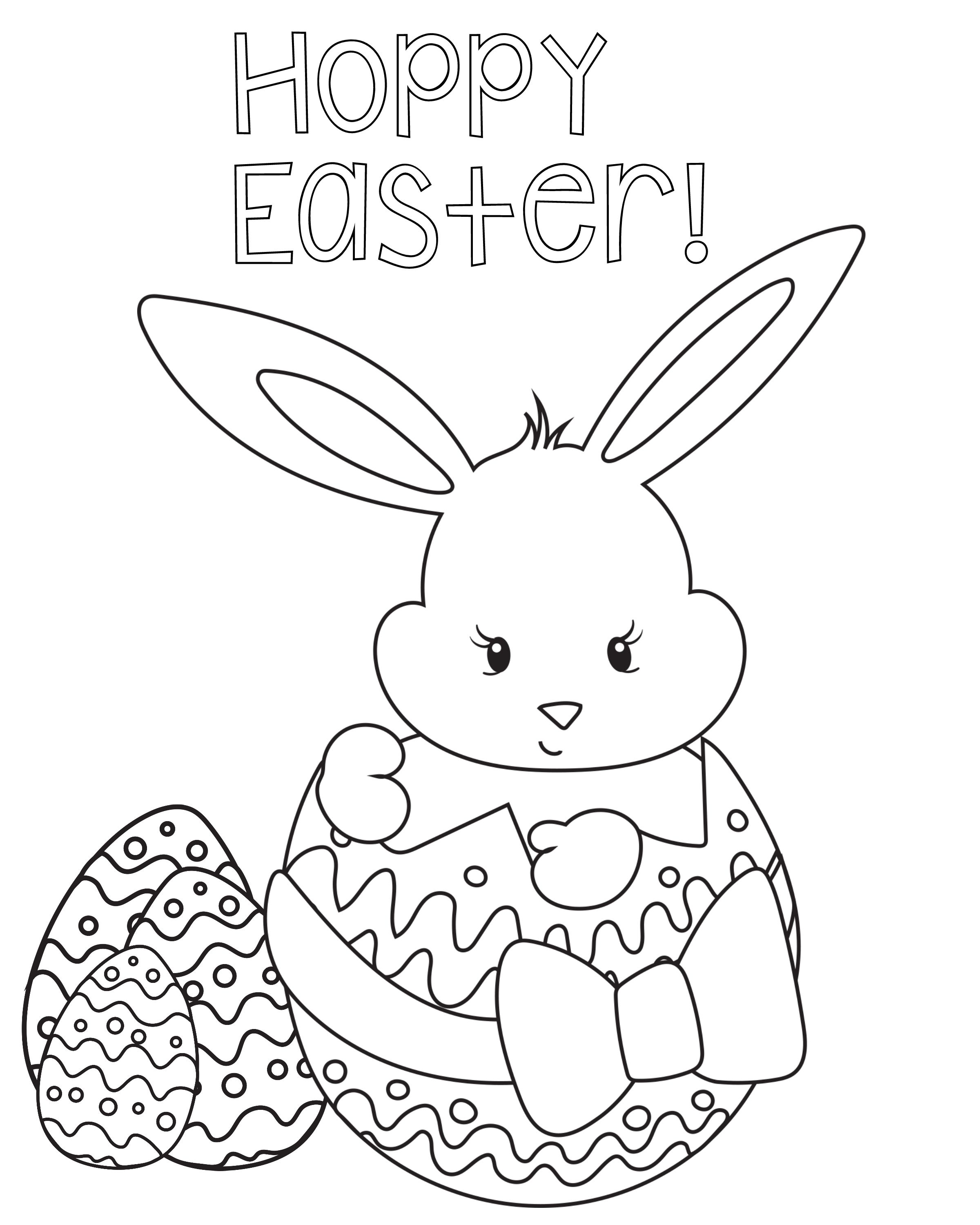 Many Easter Eggs coloring page for kids, easter coloring