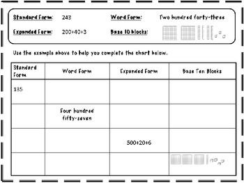expanded form word form standard form worksheets  Number and Place Value Practice Worksheet | Place values ...