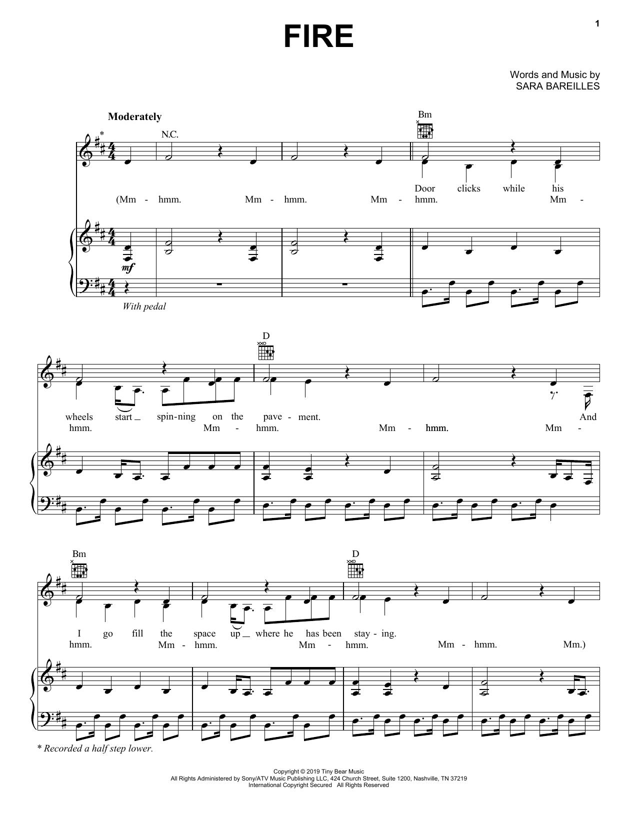 Sara Bareilles Fire 423528 Sheet music, Sheet music