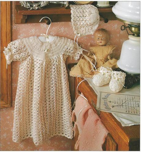 Crochet Pattern Baby Infant Christening Layette Ribbon Trimmed Dress