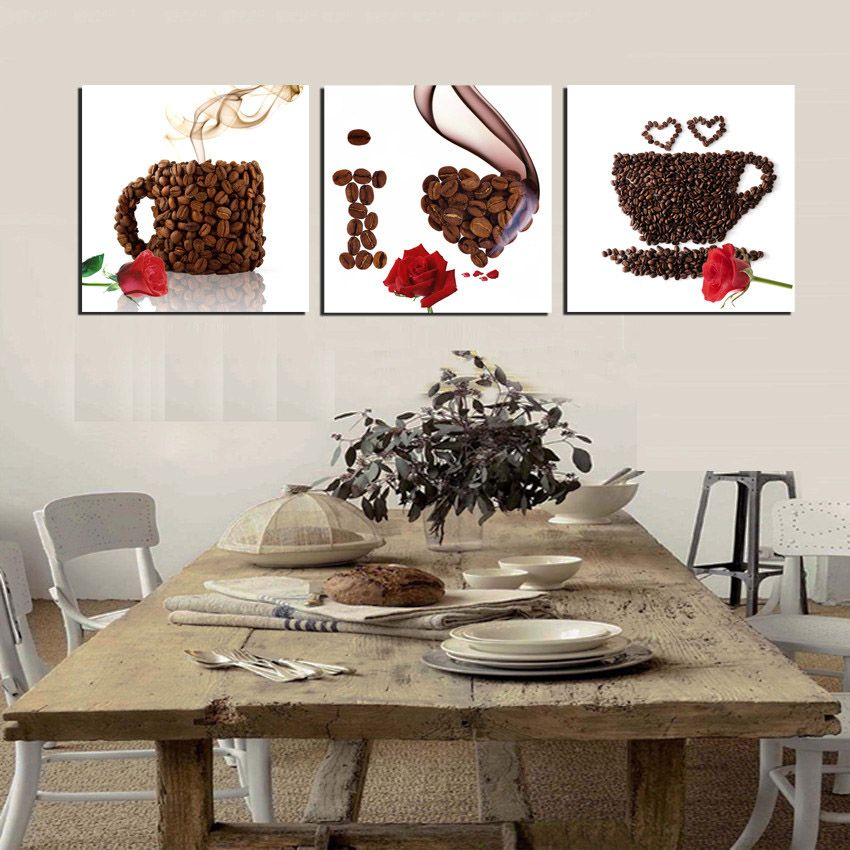3 Piece Canvas Print Wall Art Coffee Painting Beans Mugs I Love You Cafe Shop Modern Home Kitchen Decor Picture Coffee Wall Art Cafe Wall Art Coffee Wall Decor