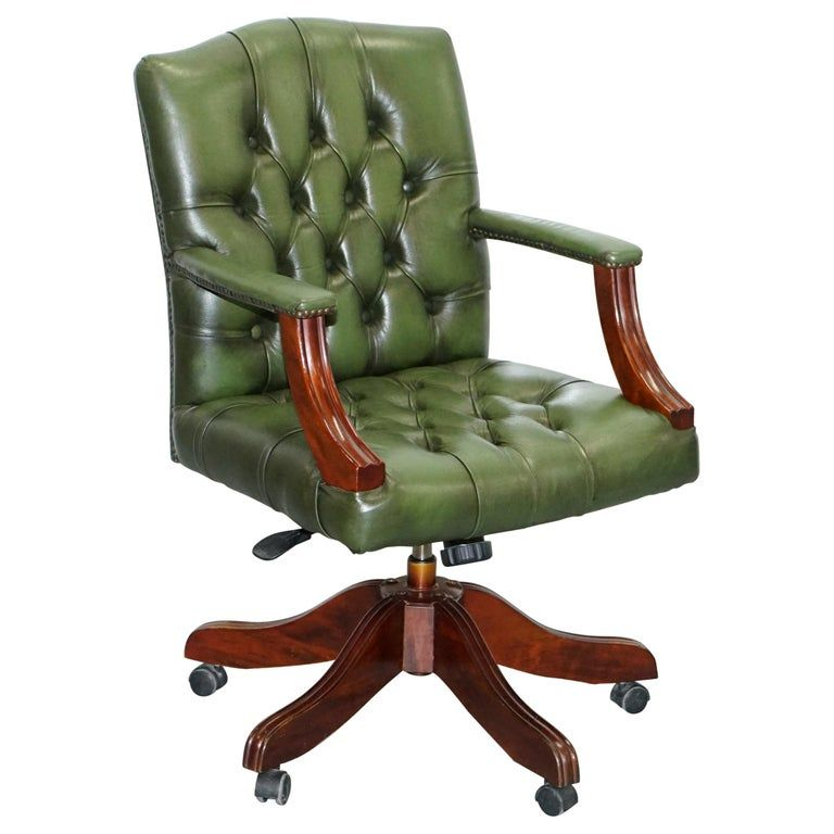 Vintage Directors Green Leather Chesterfield Captains Chair Solid