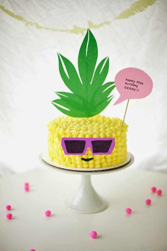 My Dad's 70th Birthday + Pineapple Wearing Sunglasses Cake