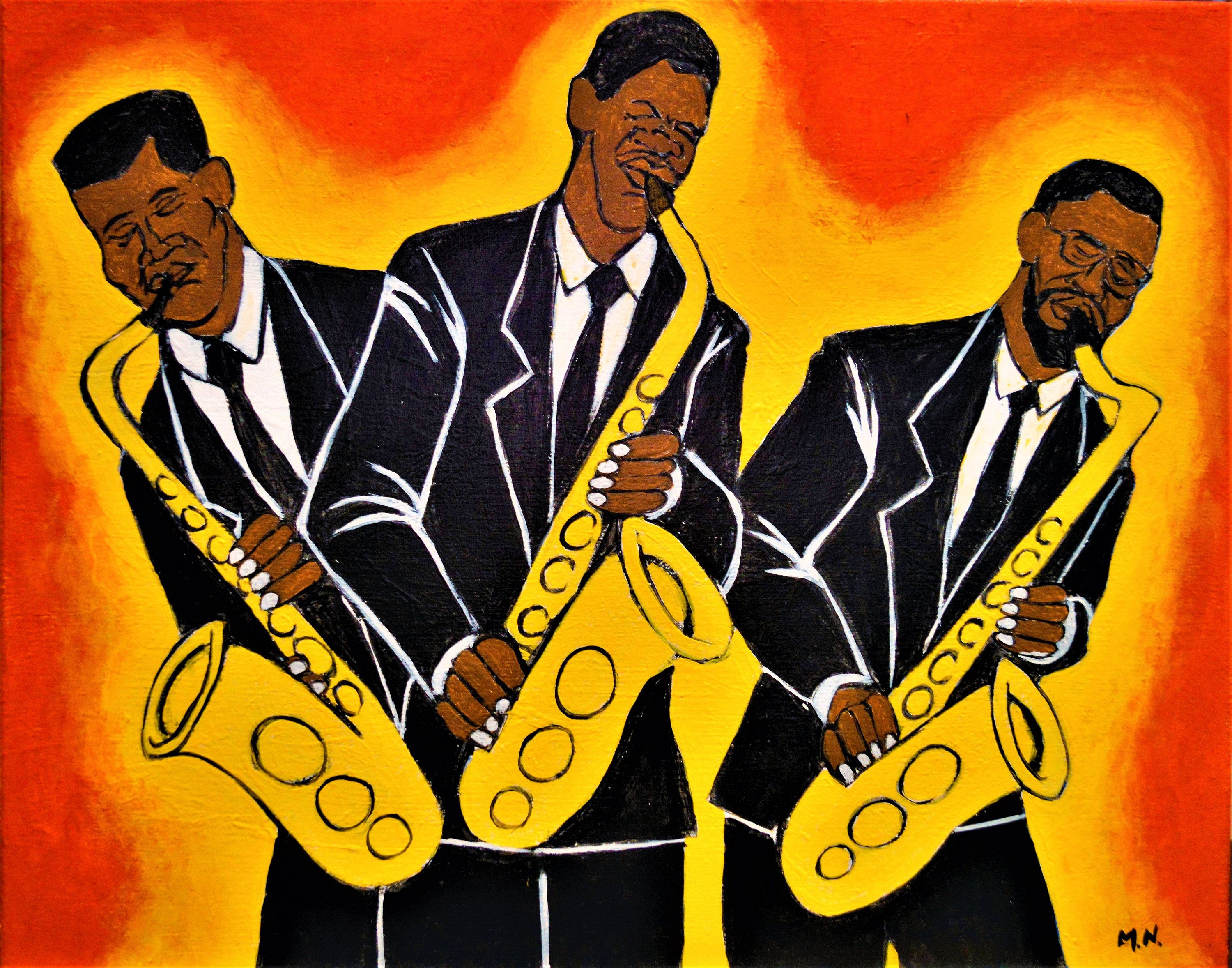 Three Saxohone Players, Jazz Art, Digital Print, Art Print