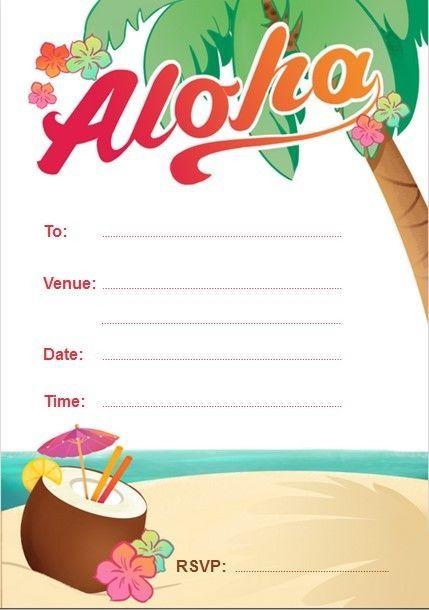 Blank Aloha, Hawaiian, Luau Birthday Party Invitations free ...