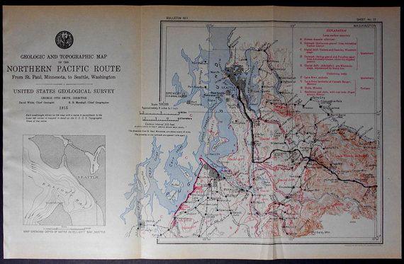 1915 Railroad Map Washington  Seattle Tacoma Puyallup Auburn