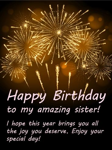 Bright Fireworks Happy Birthday Card for Sister Golden fireworks