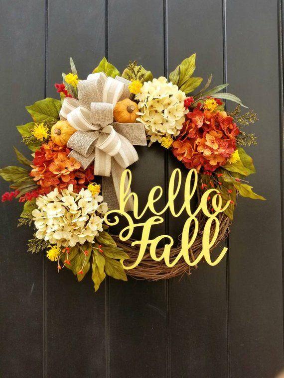 Hello Fall Wreath Wreaths Wreaths Door Hangers Home Decor Home Living