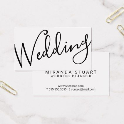 Modern Script BlackWhite Wedding Planner Business Card