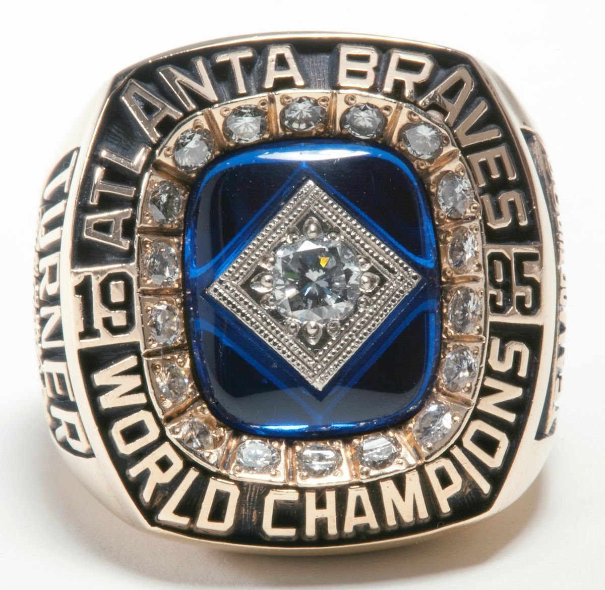 Atlanta Braves 1995 World Series Mlb Championship Ring 18k Gold Plating With Synthetic Sapphire Atlanta Braves Braves Atlanta Braves Baseball