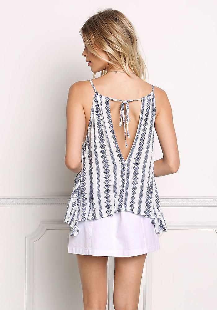 94716f9000b5d8 White and Navy Crepe Floral Pointed Tank Top