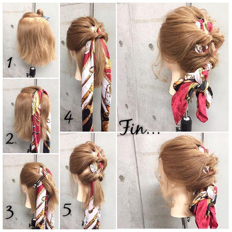 東海林翔太 ヘアアレンジ Hairarrangeさんはinstagramを利用しています 簡単で可愛い 自分でできるヘアアレンジ ボブレングスpart10 スカーフをアクセントに編み込み風なカジュアル感が可愛いお出かけsty Scarf Hairstyles Hair Styles Hair Arrange