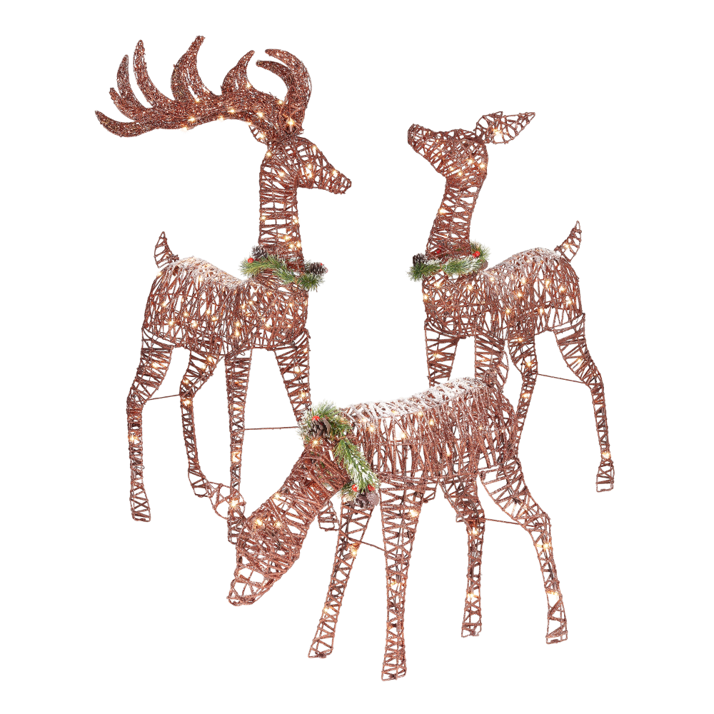 Holiday Time Light Up Outdoor 3 Piece Reindeer Family Decoration With Clear Lights Walmart Com Outdoor Christmas Reindeer Outdoor Reindeer Outdoor Christmas Decorations
