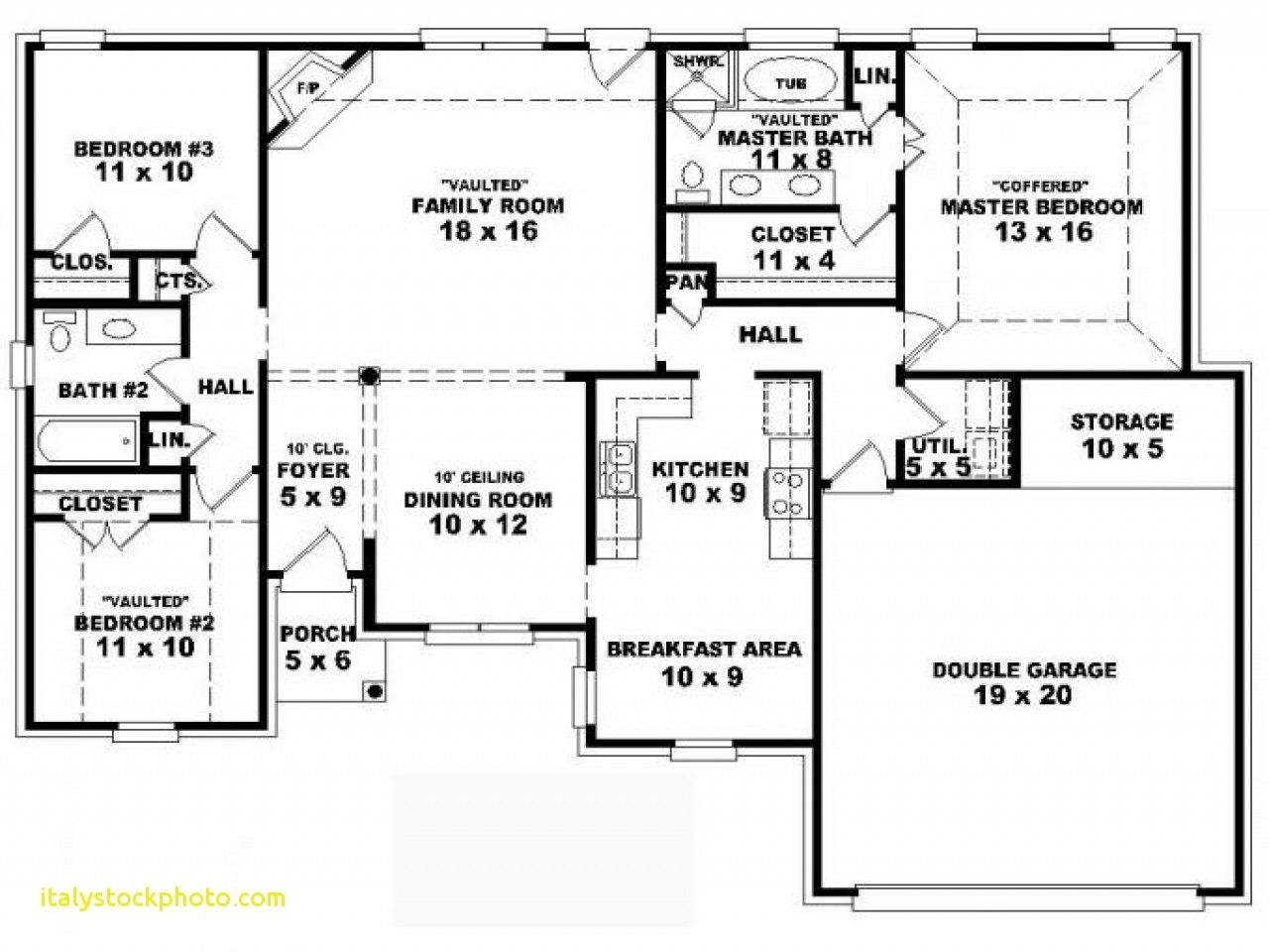 One Storey House Plans with Dimensions 4 Cesrooms House