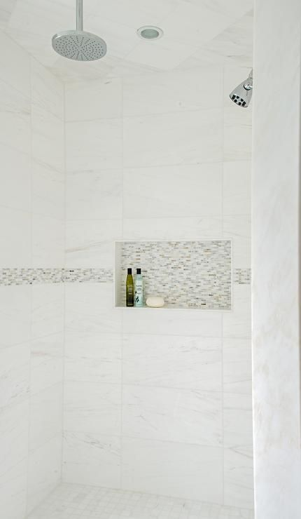 Chic Walk In Shower Features White Marble Grid Tiles Accented With Gray  Mosaic Border Tiles Fitted With A Tiled Niche As Well As Two Shower Heads.: