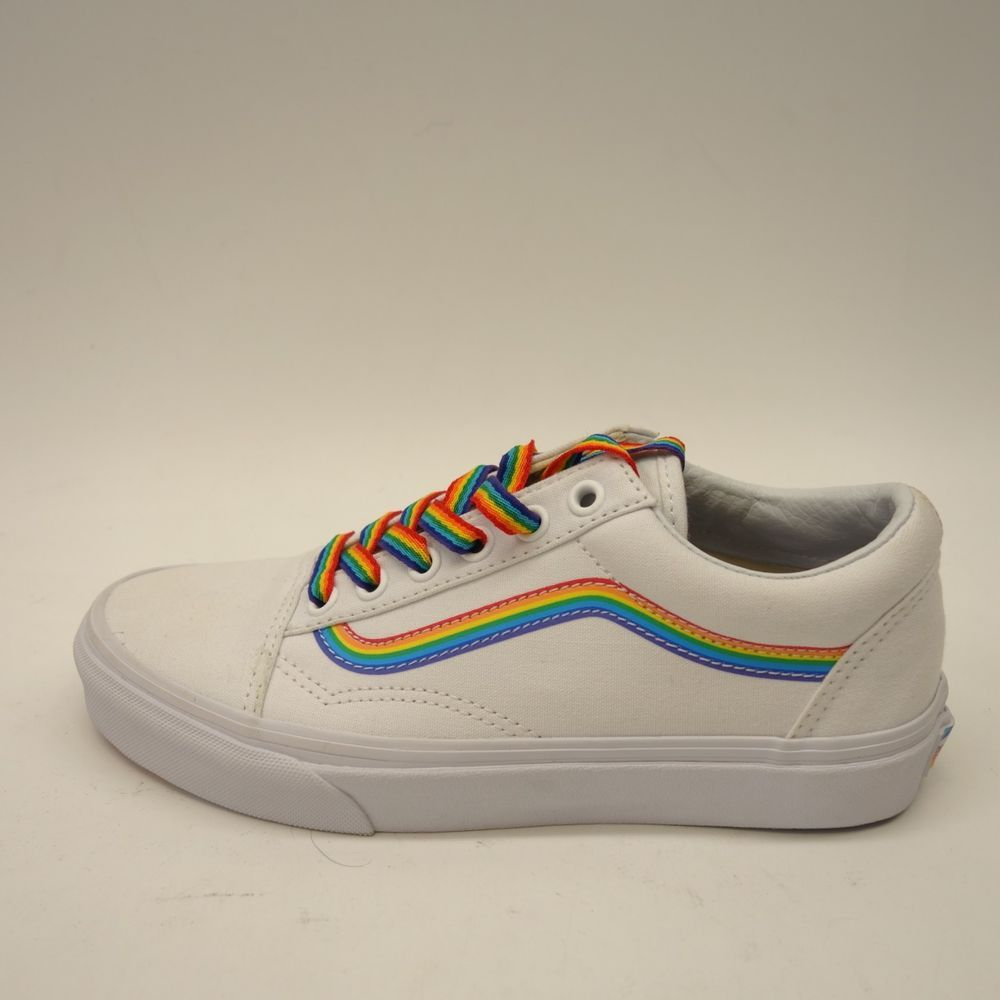 28a65c26842e1a New Vans Womens Old Skool White Rainbow Canvas Low Top Skate Casual Shoes  Sz 6.5  VANS  SkateShoes