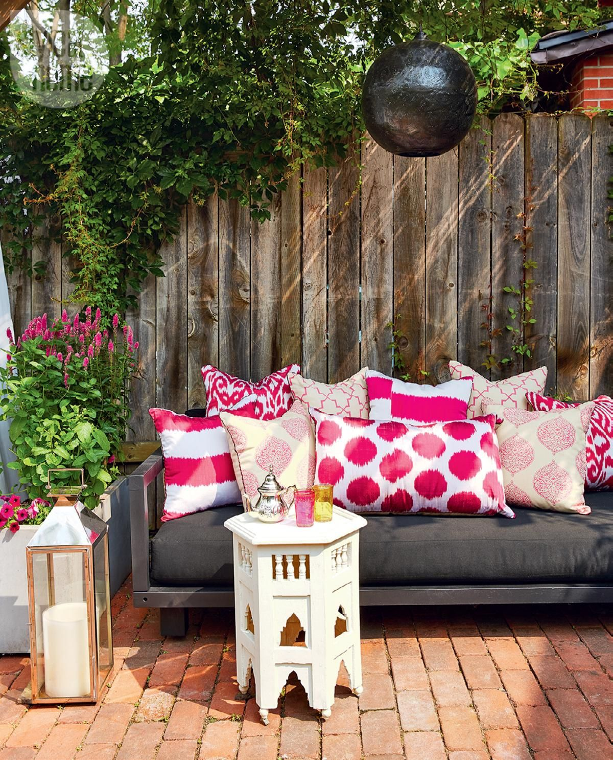 Black and Pink Outdoor Pillows