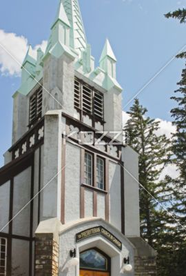 the presbyterian church in canada - View of upper portion of St. Paul's church in Banff Alberta.